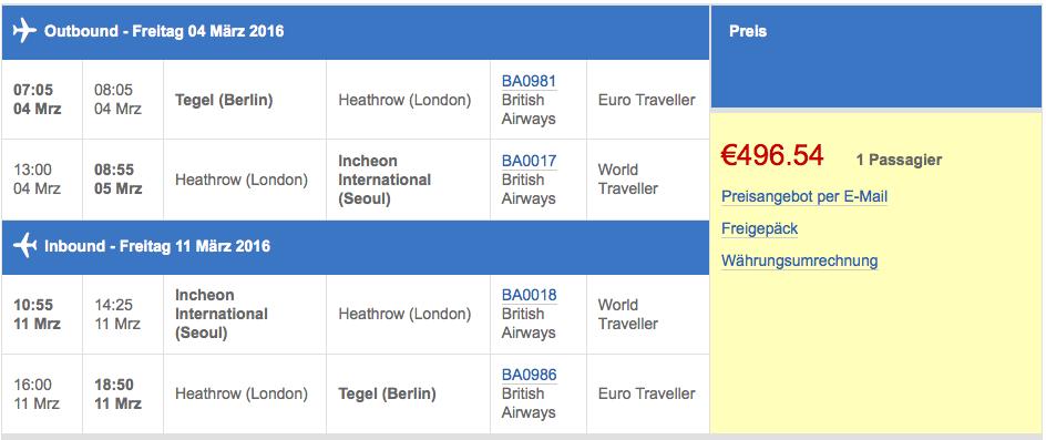 Berlin nach Seoul 497€